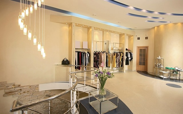 Interior of the big shop of fashionable clothes 640 X 400